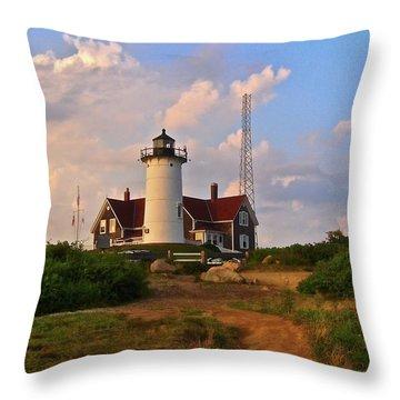 Nobska Lighthouse Throw Pillow