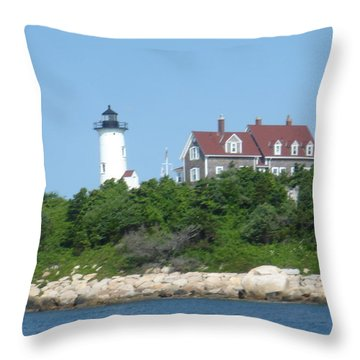 Nobska Point Lighthouse Throw Pillow by Donna Walsh