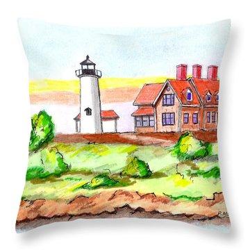 Nobska Point Lighthouse Throw Pillow