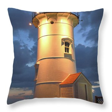 Nobska Point Lighthouse Throw Pillow by Roupen  Baker