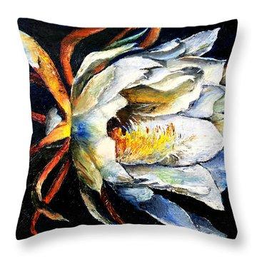 Nocturnal Desert Blossom Throw Pillow