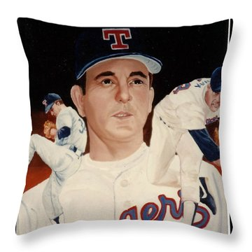Throw Pillow featuring the painting Nolan Ryan Medley by Rosario Piazza