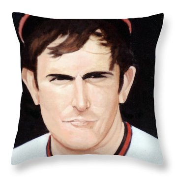 Nolan Ryan With The Angels Throw Pillow