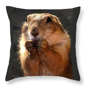 Snacking Prairie Dog Throw Pillow