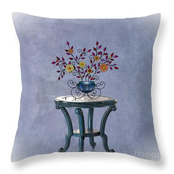 Throw Pillow featuring the digital art Non-biological Botanical 4 by Megan Dirsa-DuBois