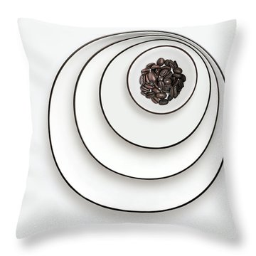Throw Pillow featuring the photograph Nonconcentric Dishware And Coffee by Joe Bonita