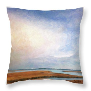 Nonesuch River Marsh - Winter Throw Pillow by Ann Tracy