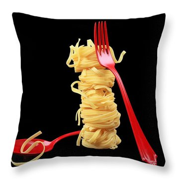 Noodles-pasta Throw Pillow by Manfred Lutzius