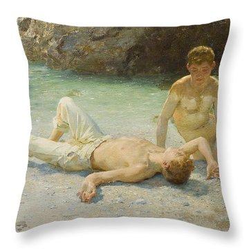 Noonday Heat Throw Pillow by Henry Scott Tuke
