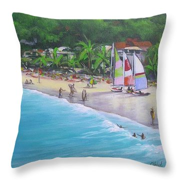 Noosa Fun Acrylic Painting Throw Pillow