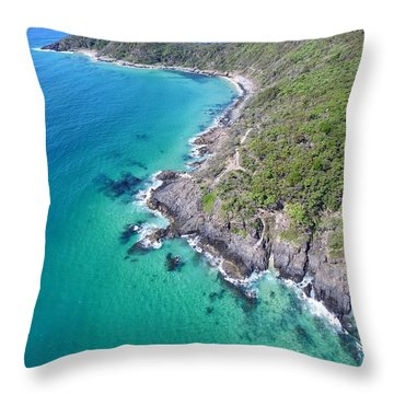 Throw Pillow featuring the photograph Noosa National Park Aerial View by Keiran Lusk