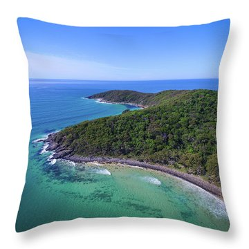 Throw Pillow featuring the photograph Noosa National Park Coastal Aerial View by Keiran Lusk