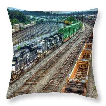 Throw Pillow featuring the photograph Norfolk Southern Locomotive #2665 Atlanta Inman Intermodal Yard Art by Reid Callaway