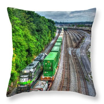 Throw Pillow featuring the photograph Norfolk Southern Locomotive 648 Atlanta Train Art by Reid Callaway
