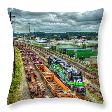 Throw Pillow featuring the photograph Norfolk Southern Locomotive 654 Atlanta Inman Yard Intermodal Train Art by Reid Callaway