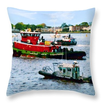 Norfolk Va - Police Boat And Two Tugboats Throw Pillow