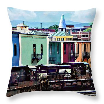 Norfolk Va - Train With Two Locomotives Throw Pillow
