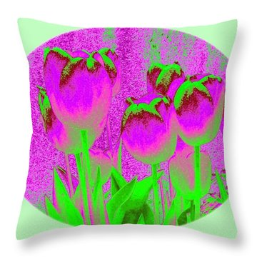 Noric House Tulips Throw Pillow by Will Borden