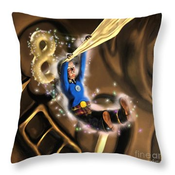 Throw Pillow featuring the painting Norman Emerges One by Dave Luebbert