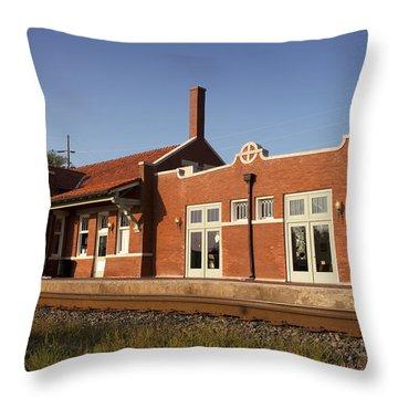 Norman Train Depot Throw Pillow