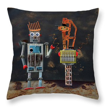 Norman With His Sculpture Throw Pillow by Joan Ladendorf
