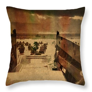 Normandy Beach On Dday World War Two Watercolor Tinted Historical Photograph On Worn Canvas Throw Pillow