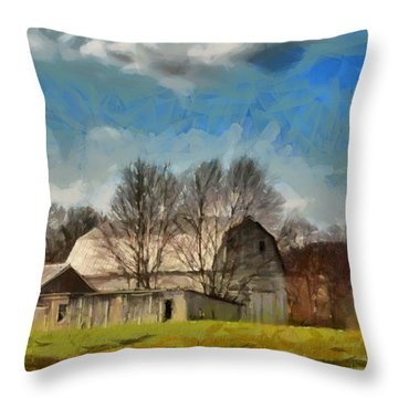 Throw Pillow featuring the mixed media Norman's Homestead by Trish Tritz