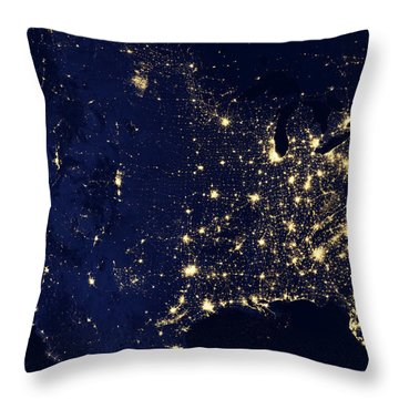 North America At Night Throw Pillow
