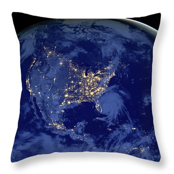 Throw Pillow featuring the photograph North America From Space by Delphimages Photo Creations