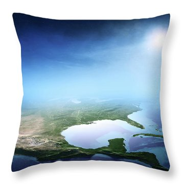 North America Sunrise Aerial View Throw Pillow
