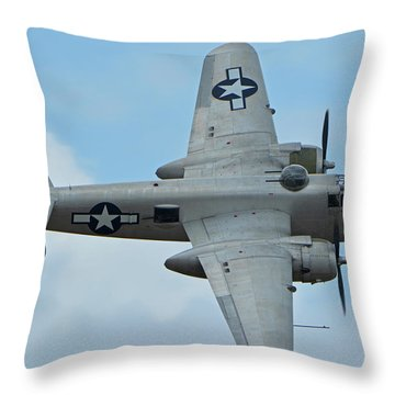 Throw Pillow featuring the photograph North American B-25j Mitchell N9856c Pacific Princess Chino California April 30 2016 by Brian Lockett