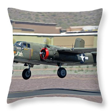 Throw Pillow featuring the photograph North American B-25j Mitchell Nl3476g Tondelayo Deer Valley Arizona April 13 2016 by Brian Lockett