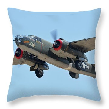 North American B-25j Mitchell Nl3476g Tondelayo Phoenix-mesa Gateway Airport Arizona April 15, 2016 Throw Pillow by Brian Lockett
