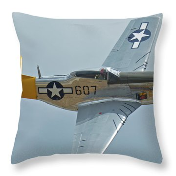 North American P-51d Mustang Nl5441v Dolly/spam Can Chino California April 30 2016 Throw Pillow by Brian Lockett