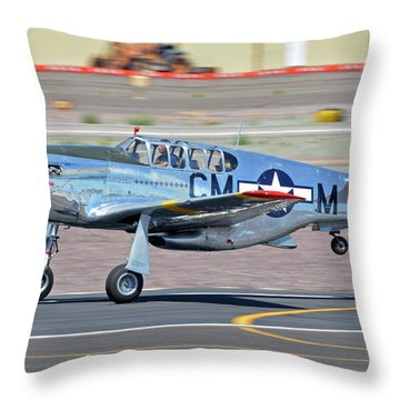 Throw Pillow featuring the photograph North American Tp-51c-10 Mustang Nl251mx Betty Jane Deer Valley Arizona April 13 2016 by Brian Lockett