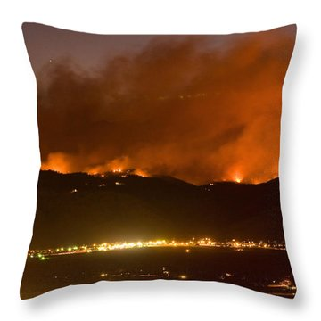 North Boulder Colorado Fire Above In The Hills Throw Pillow by James BO  Insogna