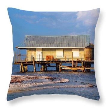 North Captiva Island Last Stilt House Standing Throw Pillow