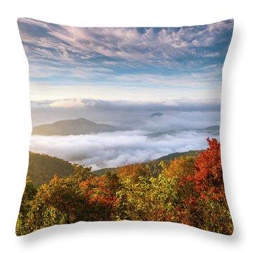 North Carolina Autumn Sunrise Blue Ridge Parkway Fall Foliage Nc Mountains Throw Pillow