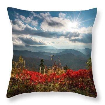 North Carolina Blue Ridge Parkway Scenic Landscape In Autumn Throw Pillow