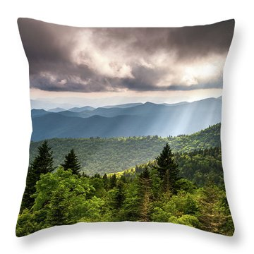 North Carolina Blue Ridge Parkway Scenic Mountain Landscape Throw Pillow