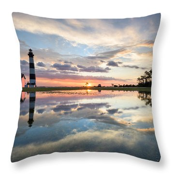 North Carolina Bodie Island Lighthouse Sunrise Throw Pillow by Mark VanDyke