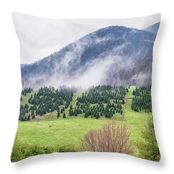 North Carolina Christmas Tree Farm Throw Pillow