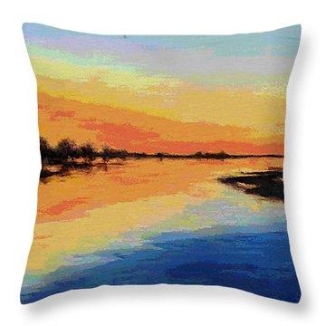 North Carolina Emerald Isle Sunrise Original Digital Art Throw Pillow