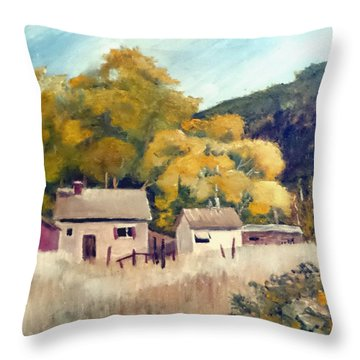 Throw Pillow featuring the painting North Carolina Foothills by Jim Phillips