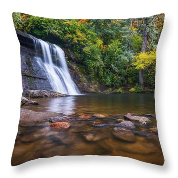 North Carolina Nature Landscape Silver Run Falls Waterfall Photography Throw Pillow