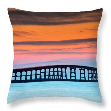 North Carolina Outer Banks Herbert C. Bonner Oregon Inlet Bridge Throw Pillow by Mark VanDyke