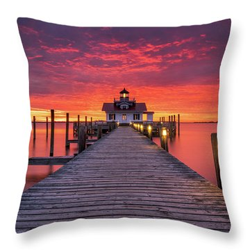 North Carolina Outer Banks Manteo Lighthouse Obx Nc Throw Pillow