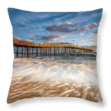 North Carolina Outer Banks Nags Head Pier Seascape At Sunrise Throw Pillow