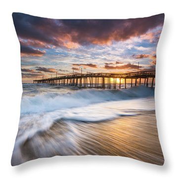 North Carolina Outer Banks Seascape Nags Head Pier Obx Nc Throw Pillow