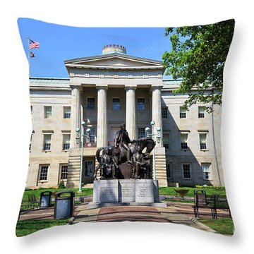 North Carolina State Capitol Building With Statue Throw Pillow